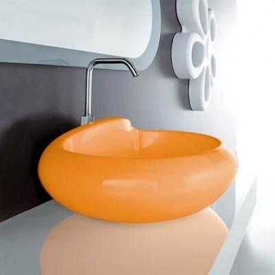 Lavabo Unico Da Appoggio Colorato Arancio