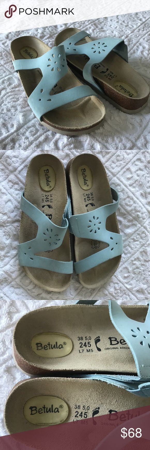 Betula Birkenstock Sandals Blue Leather L7 NEW Betula Birkenstock Women's Size 7 Sandals Gel Heel Light Blue Leather Flower Cut Out Elasticized Insert New Without Box DISPLAY 100% Authentic Thank You Birkenstock Shoes Sandals