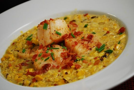 Scallops and Roasted Corn Chowder