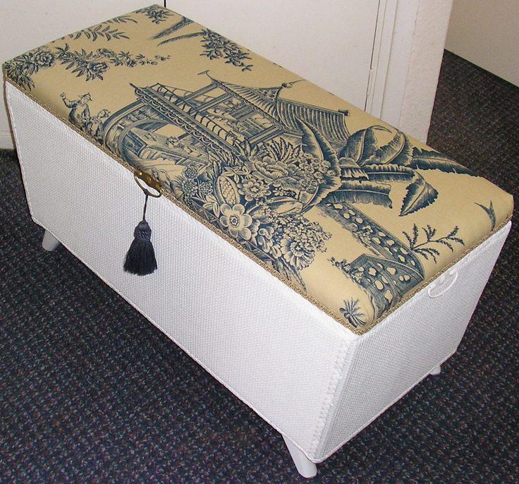 vintage loom wicker ottoman storage blanket box chest
