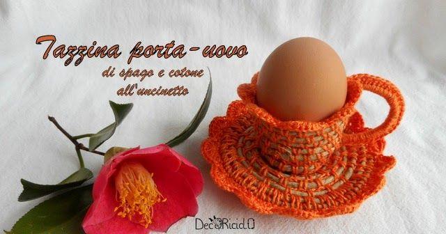 decoriciclo: Tazzina porta-uovo (e non solo) di spago e cotone all'uncinetto, con spiegazioni