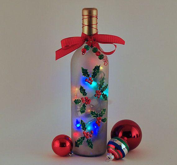 wine bottle lamp holly Christmas decor red by LightBottlesByVicki,