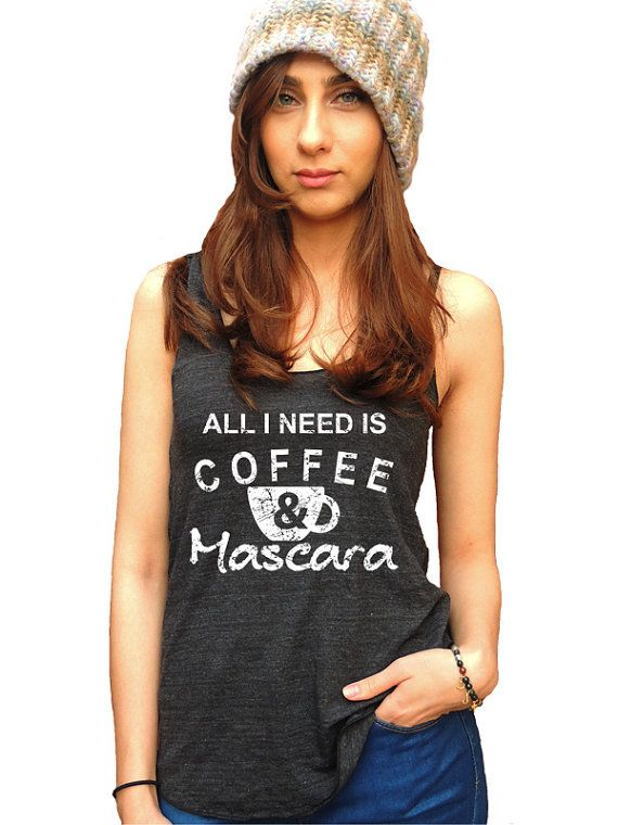 All I Need Is Coffee & Mascara Yoga Tank Top Funny by MaxenRebel