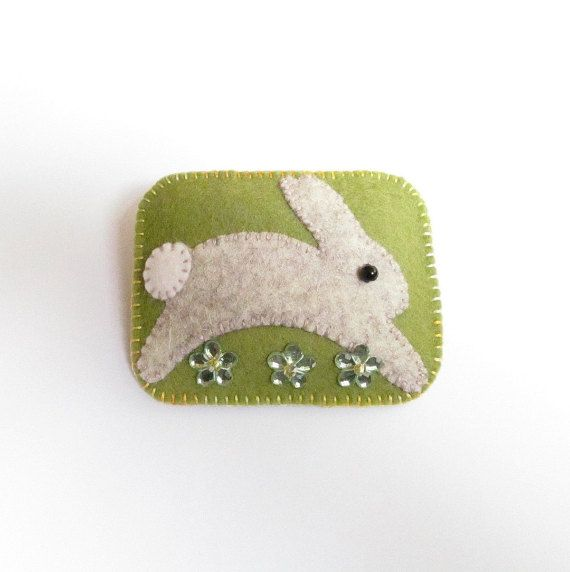 BEAUTY  The Little Brown Rabbit  Felt Brooch Pin by CherryPips