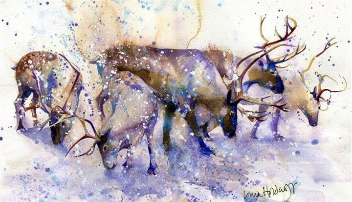 Reindeer. Artwork by Lorna Holdcroft, born in Surrey in 1967, trained at Wimbledon School of Art where she was awarded the prize for drawing and then went on to study for a BA Hons in Fine Art at North East Polytechnic (now University of East London)