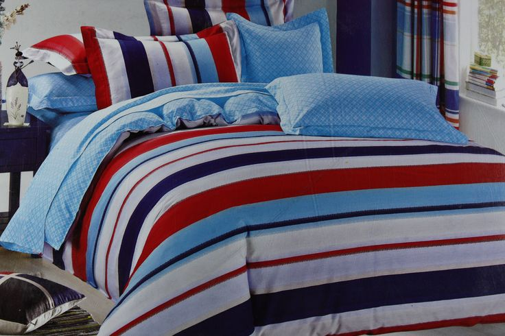 Create a refreshing and soothing ambiance in your bedroom with this Bed Linen Set of Blue, White & Red stripes. The Contrast Pillow Cases make this product even more designer. This King Size Bed Linen Set (275*275cm) is made of Fine Quality Cotton Fabric which makes it easy to wash and dry at home for regular maintenance. This Bed Linen Set is great for use in any season and is absolutely skin friendly.