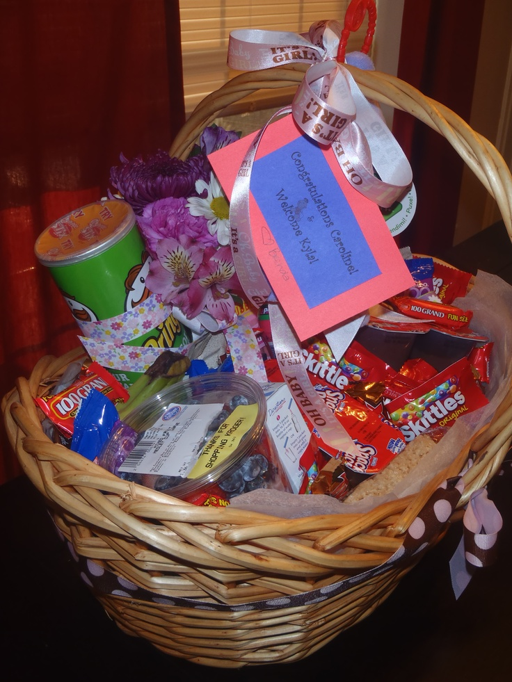 basket for a new mother in the hospital with lots of goodies to snack on