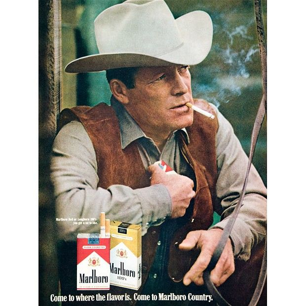 Probably the most famous symbol in tobacco advertising, the Marlboro Man, ran in the US from 1954 to 1999. He is seen in this advert from 1972. Three of the men who appeared in Marlboro advertisements died of lung cancer.