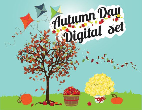 Fall Digital Clipart, INSTANT DOWNLOAD, Fall Clip art, Fall Tree, leaves, mums, pumpkins, kites, $2.99