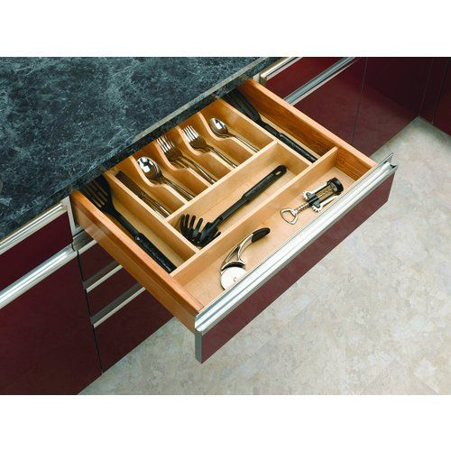 """Rev-A-Shelf 4WCT-3 4WCT Series 21"""" Wide Trimmable Maple Cutlery Tray Insert, Natural Wood. W X 15-1/2. Deep Maple with UV-cured clear coat Trim to fit just about any drawer Easy drop-in installation. Depth x 2.875. This modern day clutter solution requires a simple drop-in installation with two sizes that may be trimmed to fit various drawer sizes. Minimum trim for RS4WCT.3. Width x 22. 14-1/4. Wide x 15.5. 24"""" W X 22"""" D X 2-7/8"""" H. Wide Trimmable Wood Cutlery Tray Insert Organize..."""