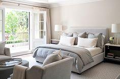 Jennifer Worts Design - bedrooms - sand beige, walls, paint, color, polished chrome, modern, lamps, gray, blue, velvet, headboard, bed, bedding, white, espresso, modern, nightstands, velvet, blue, gray, chairs, oval, ottoman, French doors, ivory, silk, drapes,