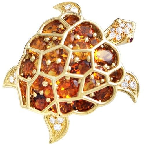 Chanel 18K Yellow Gold Citrine & Diamond Turtle Brooch