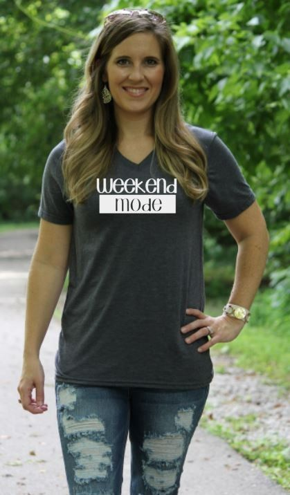 """Weekend Mode"" V Neck Tee"