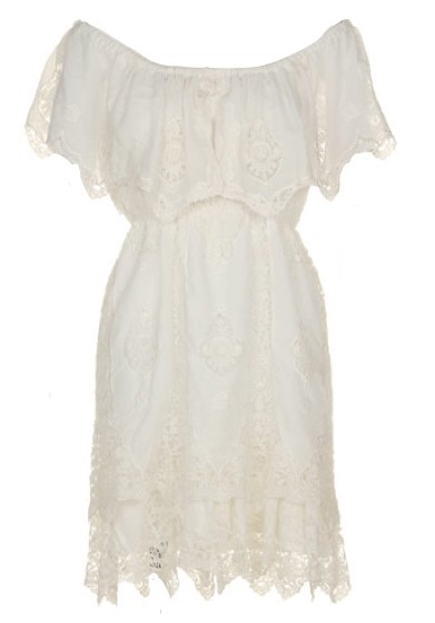 Snidel White Lacy Dress with Sleeves