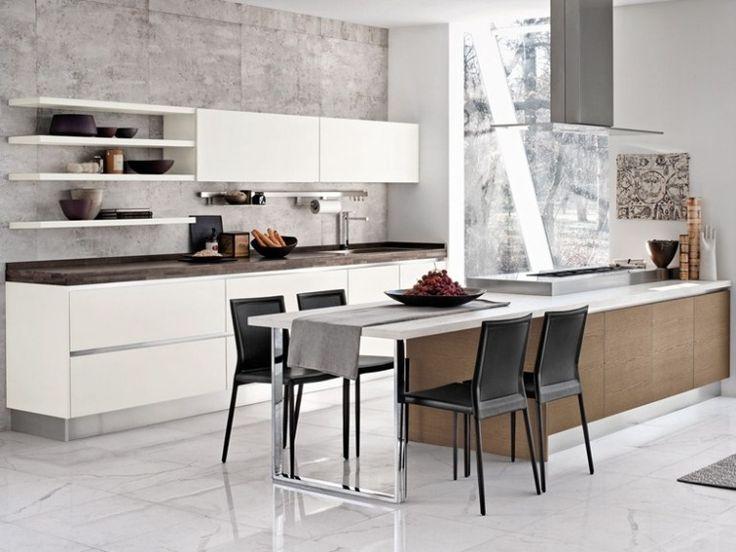 Lackküche BRAVA mit Kochinsel, integrierten Handgriffen und - grundriss küche mit kochinsel