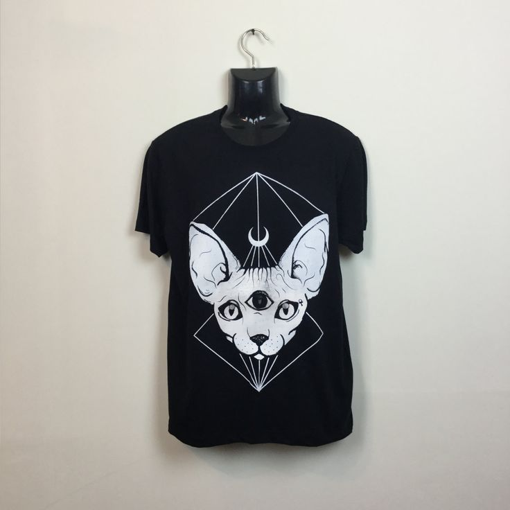 """Thanks for the kind words! ★★★★★ """"It's a very nice material and looks amazing. I love it, will be ordering from again """" Kylree W. http://etsy.me/2DGPupQ #etsy #clothing #shirt #black #white #pastelgoth #sphynxcattshirt #sphynxcat #catlovertshirt #cattshirt"""