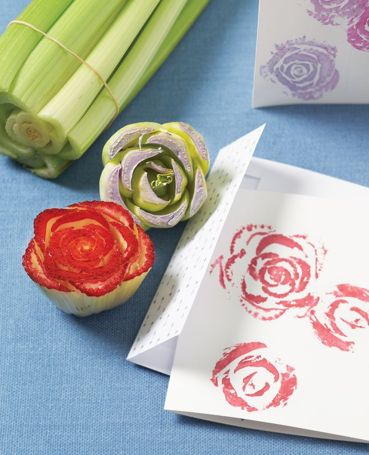 Get into the spring season and craft up personalized cards for your next soirée using just a bit of ink and cut vegetables!