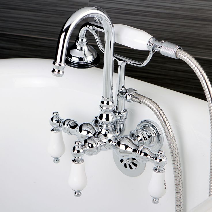 Kingston Bathtub Wall-Mount Claw Foot Tub Filler with Handshower in Polished Chrome