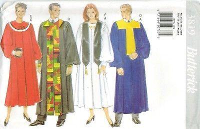 Butterick 3819 Robe Collar Sewing Pattern XS-XL Unisex Graduation Gown UNCUT