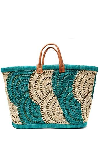 Mar y Sol Santorini Seagrass Basket Tote with Crochet Overlay. - Price: $94.00