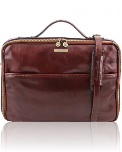 VICENZA TL141240 Leather laptop briefcase with zip closure