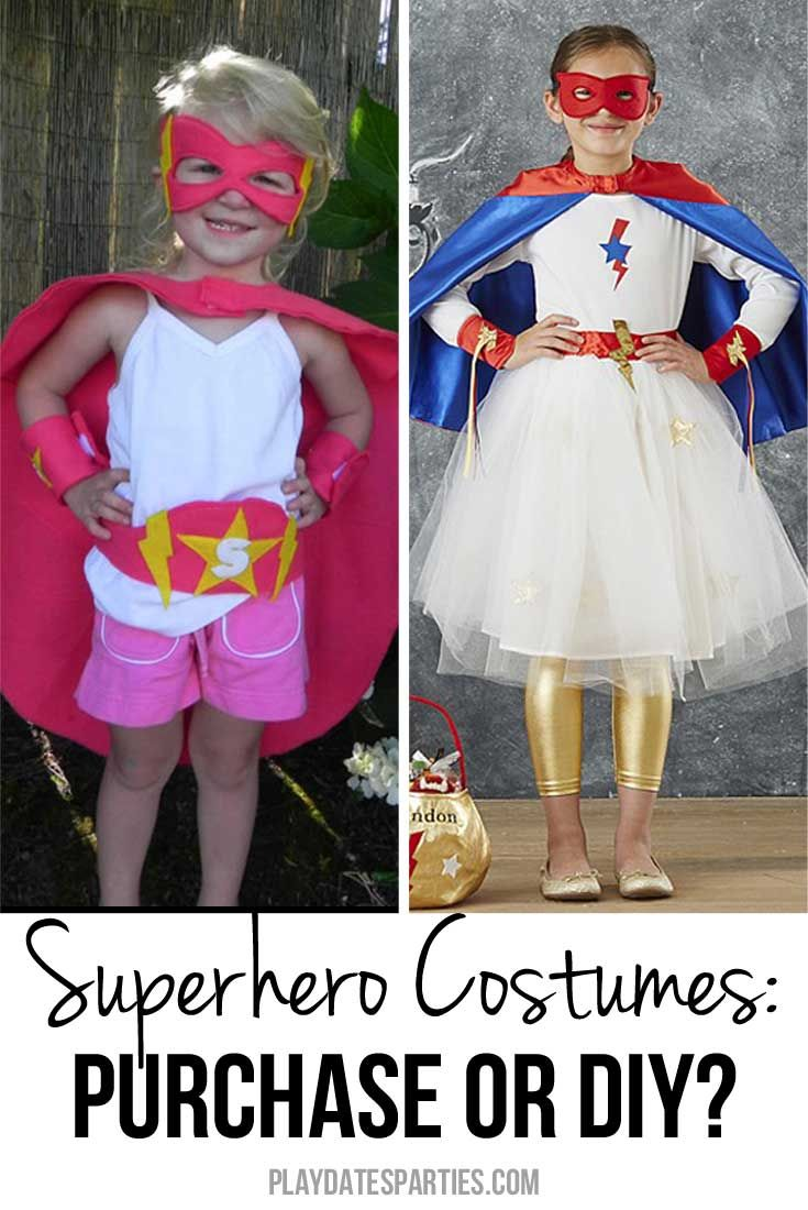 Bring out your daughter's inner superpowers, and take a look at a comparison of purchased vs DIY Superhero costumes for girls. http://playdatesparties.com/2014/09/superhero-costumes-for-girls-diy-vs.html