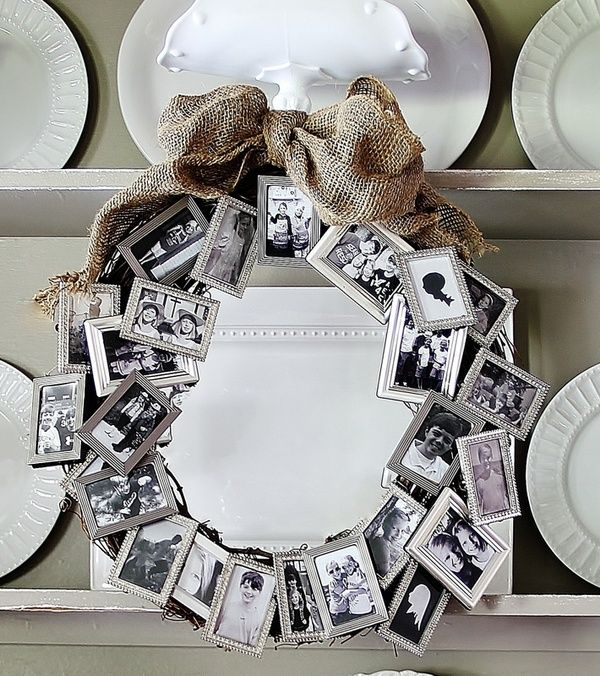 a bunch of dollar store small frames to create a meaningful wreath