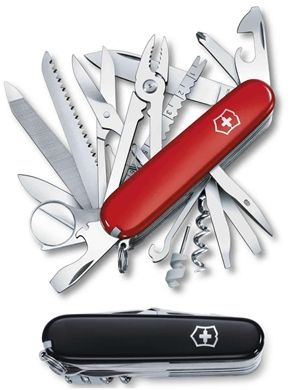 "Swiss Champ - Swiss Army Knife : Victorinox You will be right at the front in every situation with the SwissChamp. The top model among the ""Officer's Knives"" combines 33 high quality tools with an award-winning design."