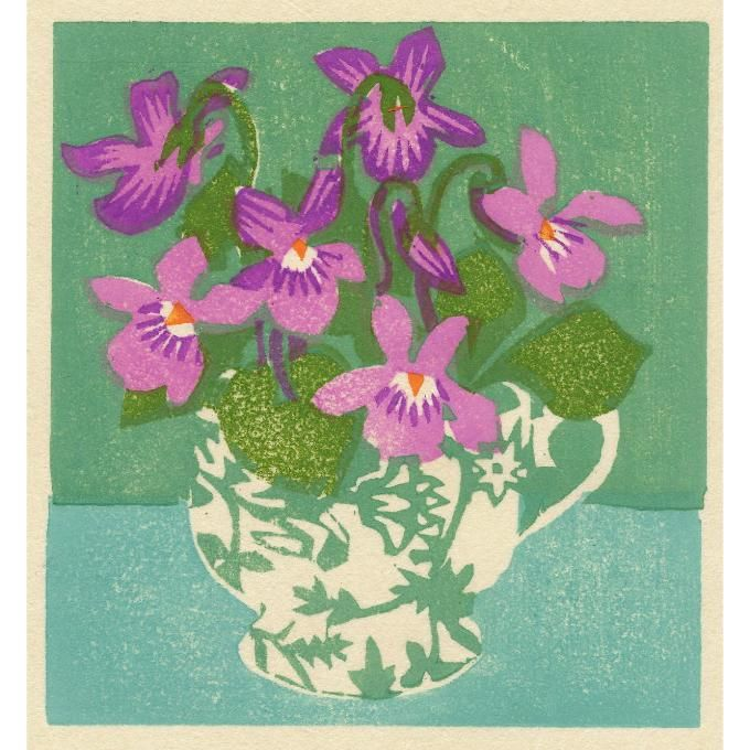 """Violet teacup"" by Matt Underwood (woodblock print)"