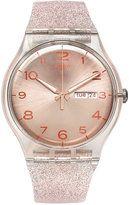 Swatch Women's Swiss Pink Glistar Pink Glitter Semi-Transparent Silicone Strap Watch 41mm SUOK703