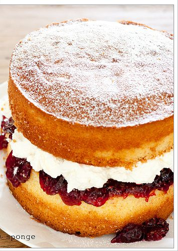 nan's enormous victoria sponge birthday cake - is there anything better than a really well done Victoria sponge?