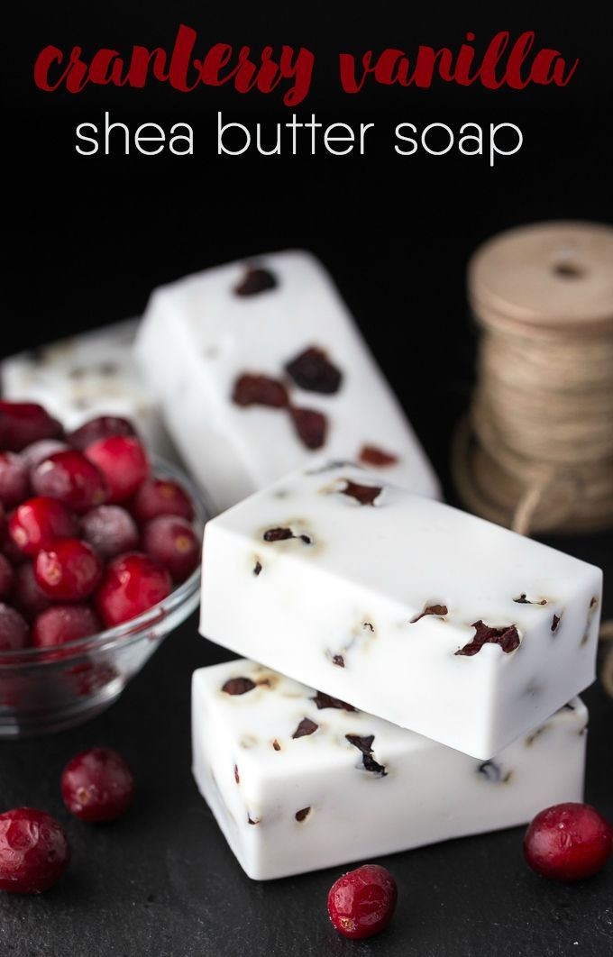 Cranberry Vanilla Shea Butter Soap - Make your own DIY soap perfect for holiday gift giving.