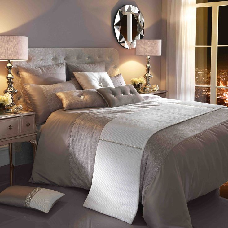 Ria Silver Beige Luxury Satin Single Duvet Quilt Cover By Kylie Minogue at Home