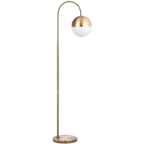 safavieh jonas floor lamp shade white body brass gold rub