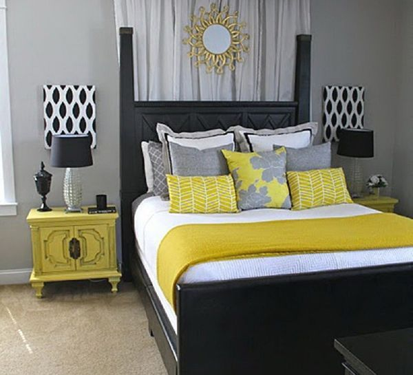 Yellow, black and white contemporary bedroom.