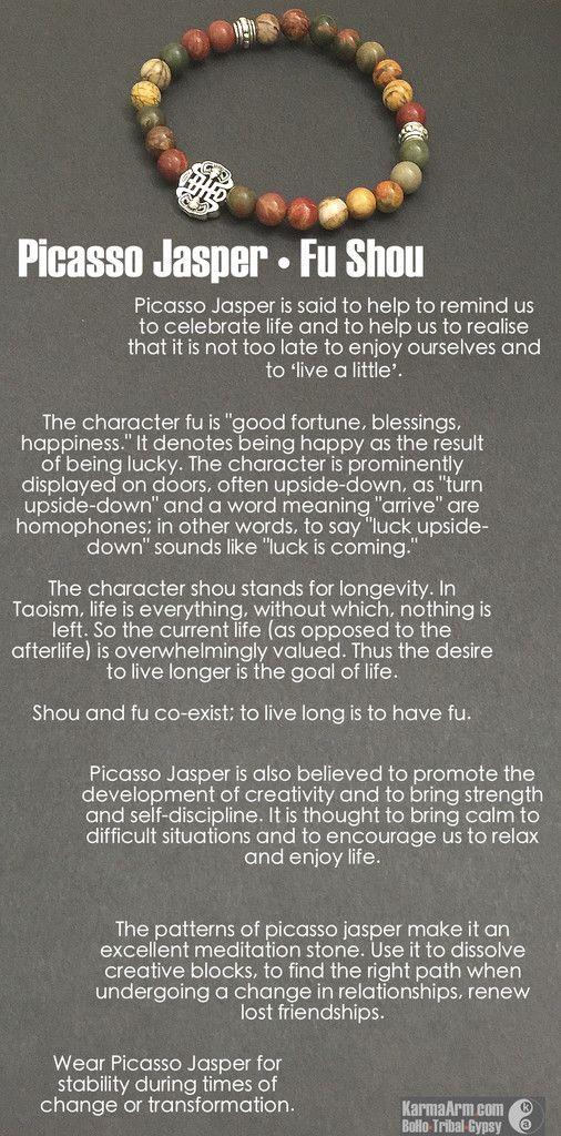 MANTRA: I embrace the changes coming. - 8mm Natural Picasso Jasper Gemstones - Tibetan Silver Fu Shou Talisman - Tibetan Silver Rondelles - Commercial Strength, Latex-Free Elastic Band - Artisan Craft