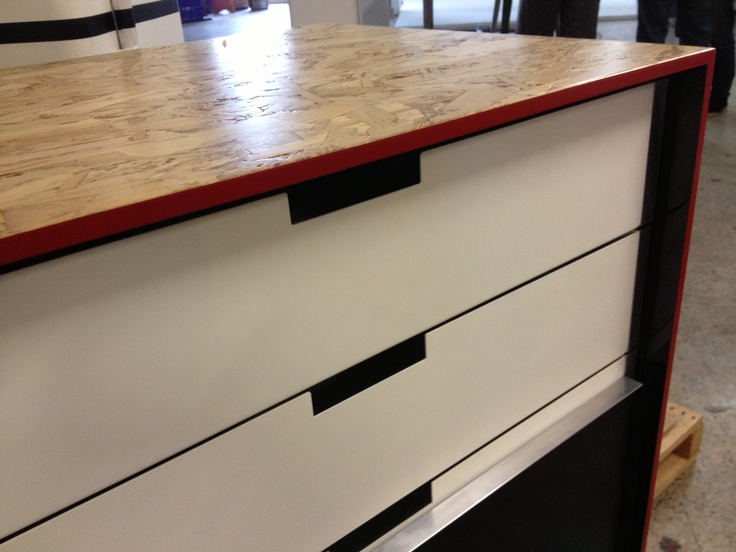 Strand board and steel drawers, detail