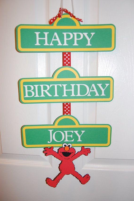 Sesame Street Elmo Inspired Happy Birthday Door Sign or Banner on Etsy, $10.00