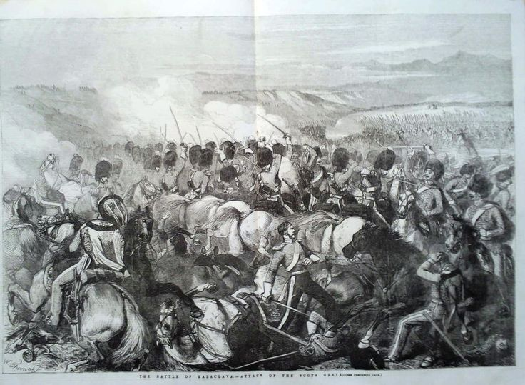 1854 PRINT THE BATTLE OF BALACLAVA : ATTACK OF THE SCOTS GREYS