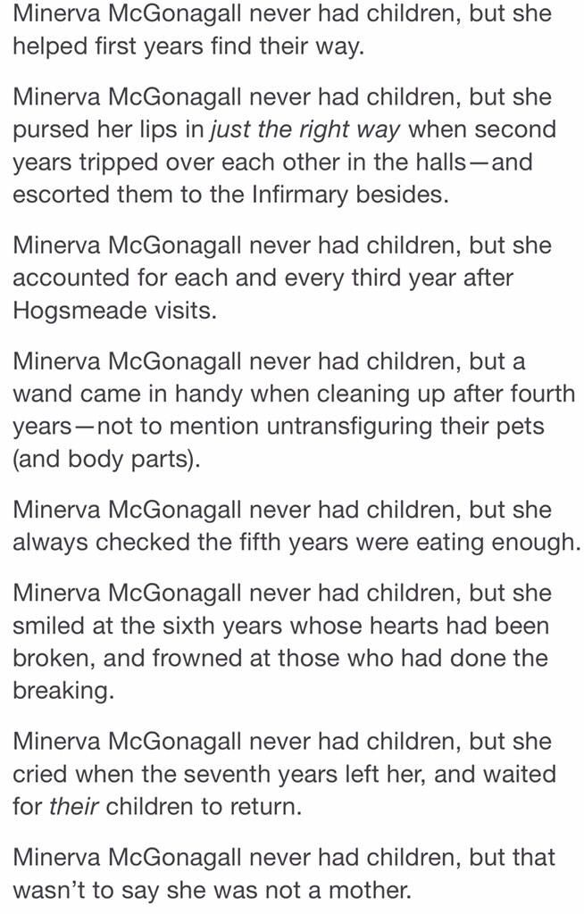 Minerva McGonagall never had children, but that wasn't to say she wasn't a mother