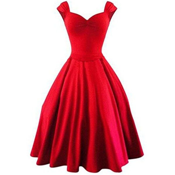 50s Vintage Style Rockabilly Swing 1950s Retro Capshoulder Party... ($10) ❤ liked on Polyvore featuring dresses, red going out dresses, retro party dress, cocktail party dress, going out dresses and holiday party dresses