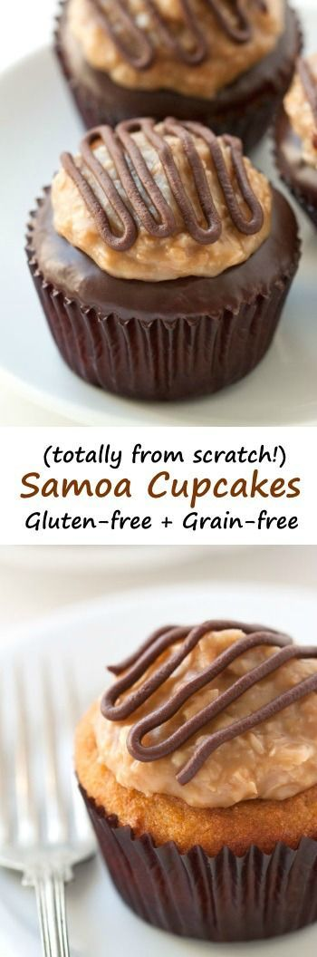 These grain-free Samoa cupcakes feature a coconut flour and brown sugar based cupcake and homemade coconut caramel topping!
