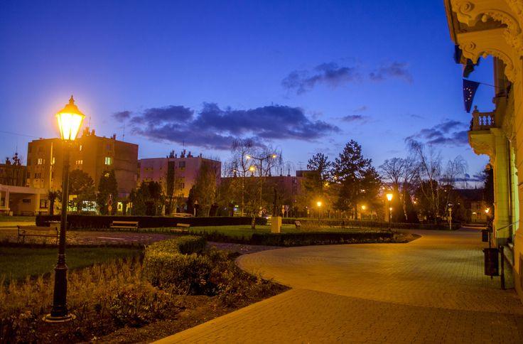 A városháza előtt