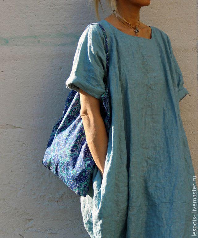Купить Льняное платье - голубой, лен, льняное платье, свободное платье, свободный силуэт
