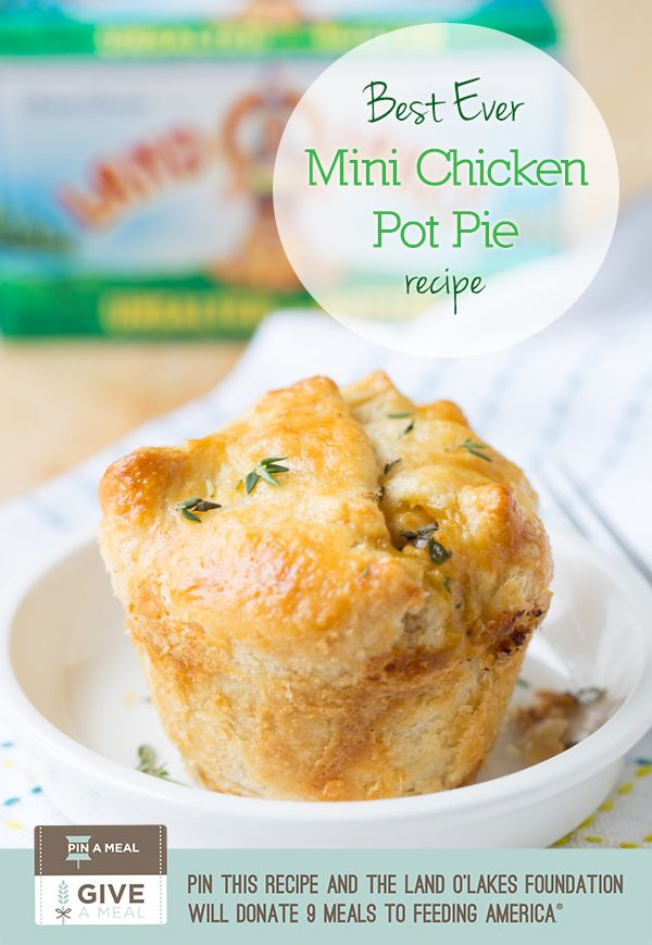 Mini Chicken Pot Pies #giveameal Repin and 9 Meals Will Be Donated to Feeding America.