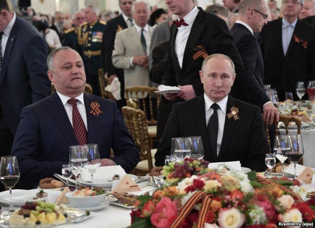 Dodon și Putin la recepția de la Kremlin