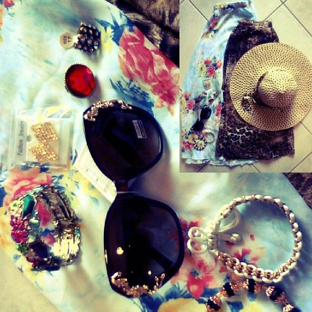 Flowery skirt: 3 euros Leopard skirt: 3 euros Hat: 3 euros Bracelets: 1 euro for each one Earrings: 1 euro Red ring: 2 euros The other ring: 1 euro Sunglasses: 5 euros  This is what I call wise shopping! ;) #summertime#flowery#leopard#long#skirt#sunglasses#earrings#bracelets#rings#hat#21#shopping#tfh#fashion#teenfashion#cute#and#lovely#stuff#thefashionhurricane