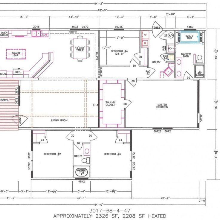 4 Bedroom Triple Wide Mobile Home Floor Plans