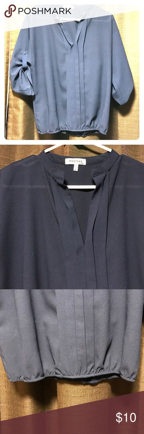 Navy blue dress shirt This top is perfect for a job interview or paired with white pants for a perfect summer look! Monteau Tops Blouses