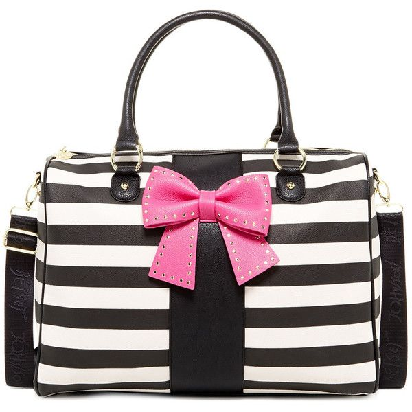 Betsey Johnson Bow Regard Weekend Bag ($80) ❤ liked on Polyvore featuring bags, handbags, stripe, pocket purse, stripe purse, stripe handbag, betsey johnson bags and white purse